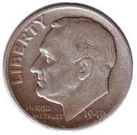 Рузвельт. Монета 10 центов. 1946 год, США. Монетный двор D.