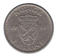 Монета 1 крона. 1955 год, Норвегия.