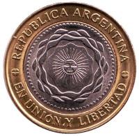 Монета 2 песо. 2010 год, Аргентина.