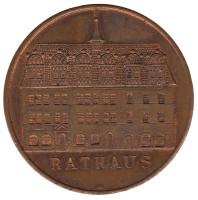 Ратуша. 950 лет Наумбургу. Настольная медаль. 1978 год, ГДР.
