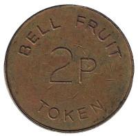 """Игровой жетон """"2p / TOKEN. Bell Fruit"""". (Токен), Великобритания."""