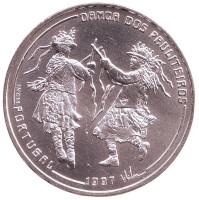 Народные танцы. Танец Политейрош. Монета 1000 эскудо, 1997 год, Португалия.