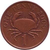 Краб. Монета 1 пенни, 2006 год, Гернси. Из обращения.