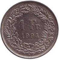 Гельвеция. Монета 1 франк. 1994 (В) год, Швейцария.