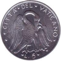 Пеликан. Монета 5 лир. 1970 год, Ватикан.