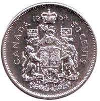 Монета 50 центов. 1964 год, Канада.
