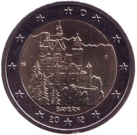 Замок Нойшванштайн в Баварии. Монета 2 евро, 2012 год, Германия. Монетный двор F.