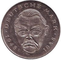 Людвиг Эрхард. Монета 2 марки. 1993 год (G), ФРГ.
