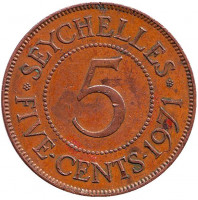Монета 5 центов. 1971 год, Сейшельские острова.