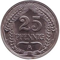 Монета 25 пфеннигов. 1909 год (A), Германская империя.