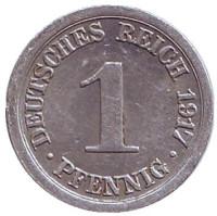 Монета 1 пфенниг. 1917 год (E), Германская империя.