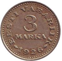 Монета 3 марки. 1926 год, Эстония.