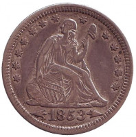 Монета 25 центов. 1853 год, США. (Стрелки около даты)