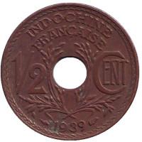 Монета 1/2 цента. 1939 год, Французский Индокитай.