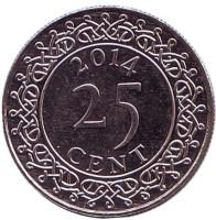 Монета 25 центов. 2014 год, Суринам.