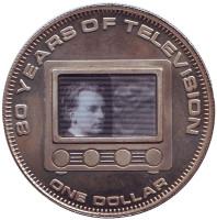 80 лет телевидению. Монета 1 доллар. 2006 год, Острова Кука.