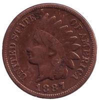 Индеец. Монета 1 цент. 1887 год, США.