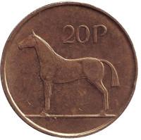 Лошадь. Монета 20 пенсов. 1998 год, Ирландия.