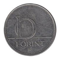 Монета 10 форинтов. 2016 год, Венгрия.