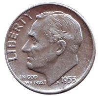 Рузвельт. Монета 10 центов. 1953 год, США. Без обозначения монетного двора.