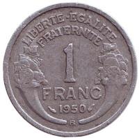 Монета 1 франк. 1950 (B) год, Франция.