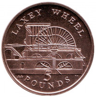 Колесо Лакси. Монета 5 фунтов. 2007 год, Остров Мэн. (AA)