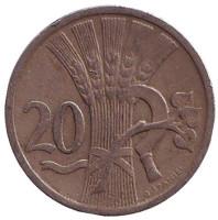Монета 20 геллеров. 1931 год, Чехословакия.