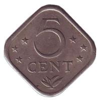 Монета 5 центов, 1975 год, Нидерландские Антильские острова.