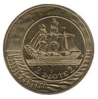 5 злотых 1936 года. Монета 2 злотых, 2005 год, Польша.