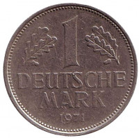 Монета 1 марка. 1971 год (D), ФРГ.
