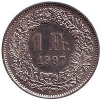 Гельвеция. Монета 1 франк. 1997 (В) год, Швейцария.