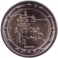 Замок Нойшванштайн в Баварии. Монета 2 евро, 2012 год, Германия. Монетный двор J.
