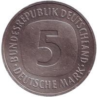 Монета 5 марок. 1989 год (J), ФРГ.