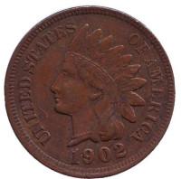 Индеец. Монета 1 цент. 1902 год, США.