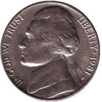 Джефферсон. Монтичелло. Монета 5 центов. 1981 год (P), США.