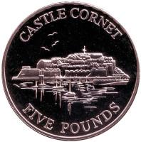 Замок Корнет. Монета 5 фунтов. 1997 год, Гернси.