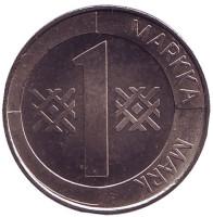 Монета 1 марка. 1993 год, Финляндия. Пробная.