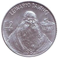 Леонардо да Винчи. Монета 2 лиры. 1984 год, Сан-Марино.