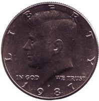 Джон Кеннеди. Монета 50 центов. 1987 год (P), США. UNC.