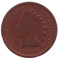 Индеец. Монета 1 цент. 1888 год, США.