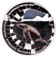 Горбатый кит. Австралийская антарктическая территория. Монета 1 доллар. 2008 год, Австралия.