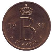 30 апреля 1980 года - день королевы. Жетон Нидерландского монетного двора. 1980 год.