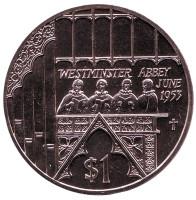 Вестминстерское аббатство. Монета 1 доллар. 2002 год, Фиджи.