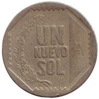 Монета 1 новый соль. 2003 год, Перу.