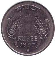 """Монета 1 рупия. 1997 год, Индия. (""""Mo"""" - Мехико)"""