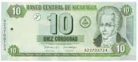 Банкнота 10 кордоб. 2002 год, Никарагуа.