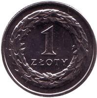 Монета 1 злотый. 2016 год, Польша.