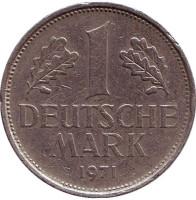 Монета 1 марка. 1971 год (F), ФРГ.
