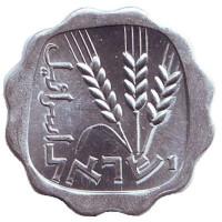 Ростки овса. Монета 1 агора. 1968 год, Израиль. UNC.