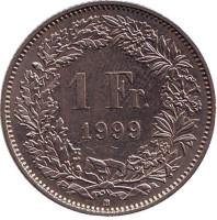 Гельвеция. Монета 1 франк. 1999 (В) год, Швейцария.